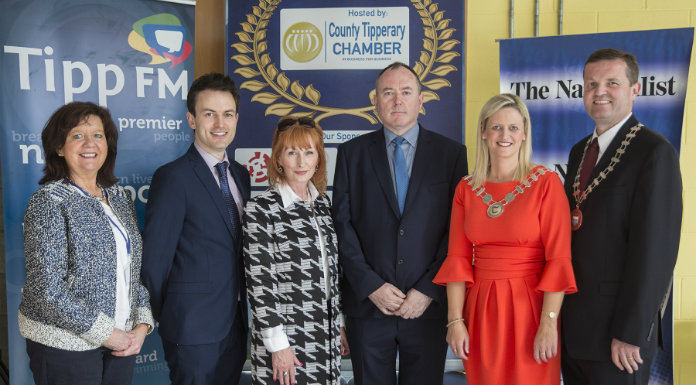 Pictured at the launch of the inaugural County Tipperary business awards were (left to right) Rita Guinan – Head of Enterprise Tipperary County Council, Dave Harrington and Susan Murphy from Tipp FM (Media Sponsors), Dave Shanahan – CEO County Tipperary Chamber of Commerce, Cllr. Siobhan Ambrose and TJ Kinsella – President County Tipperary Chamber of Commerce.